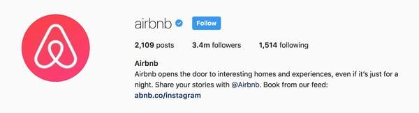 Airbnb Instagram bio