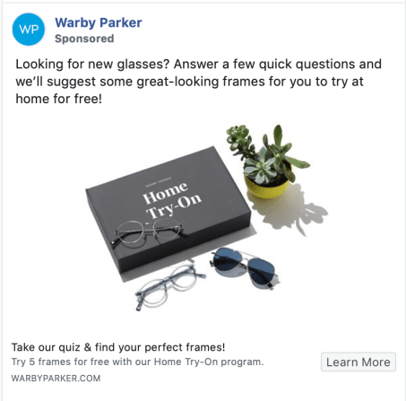 Warby Parker Facebook Ads Example