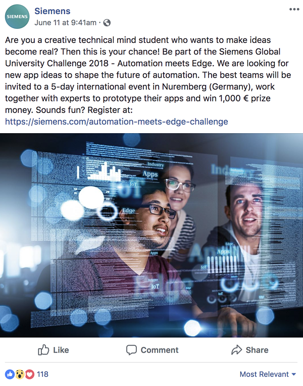Example from Siemens Facebook page