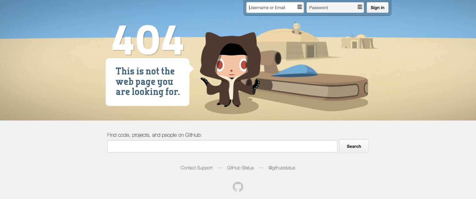GitHub 404 error page