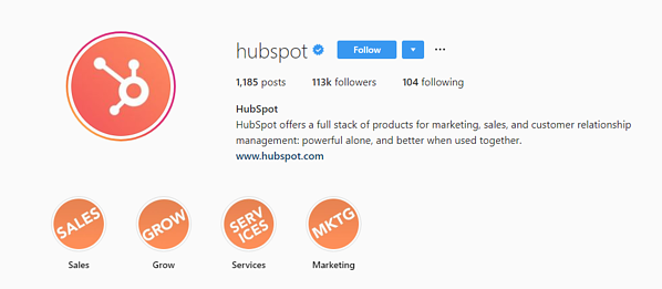 HubSpot Instagram profile screenshot