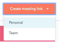 HubSpot chat - personal or team meeting link