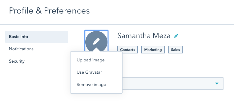 HubSpot chat - upload avatar image
