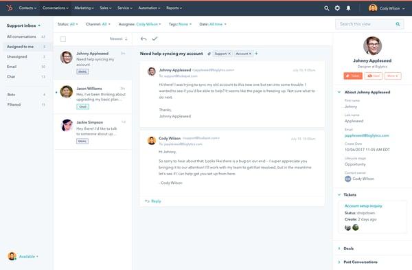HubSpot service hub conversations
