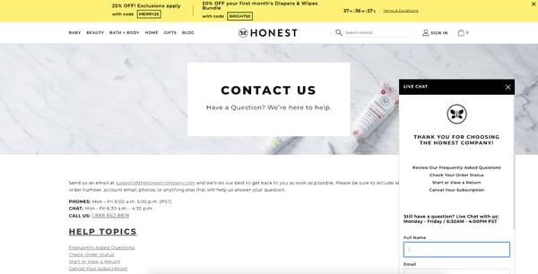 Live Chat Window Design - honest company