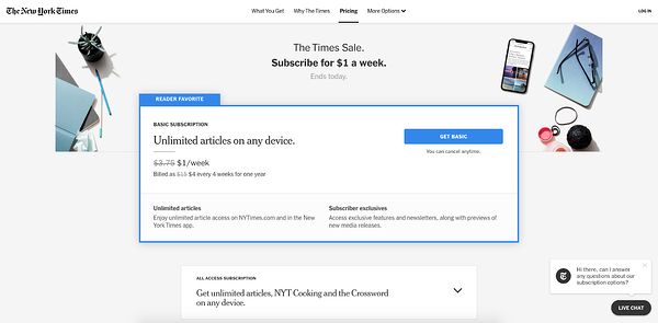 live chat window design - NYT
