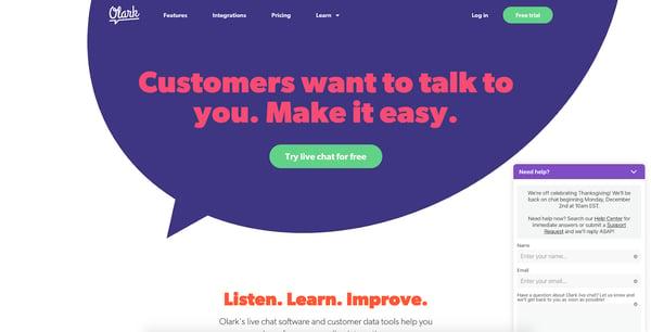 live chat window design - olark