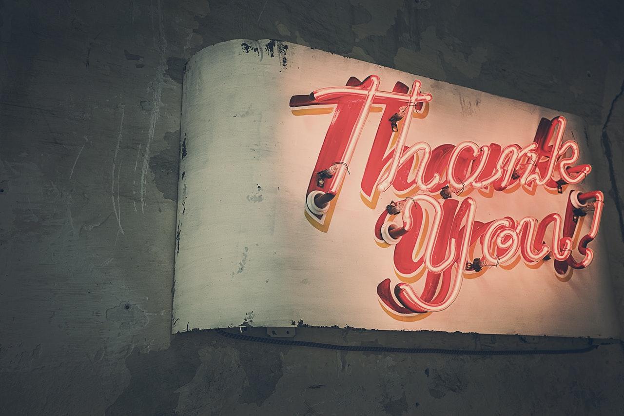 Neon Thank You Sign The Inbound Marketing Methodology Close