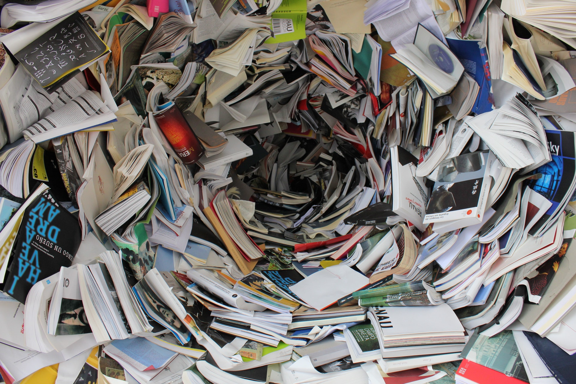 cyclone of books and pages