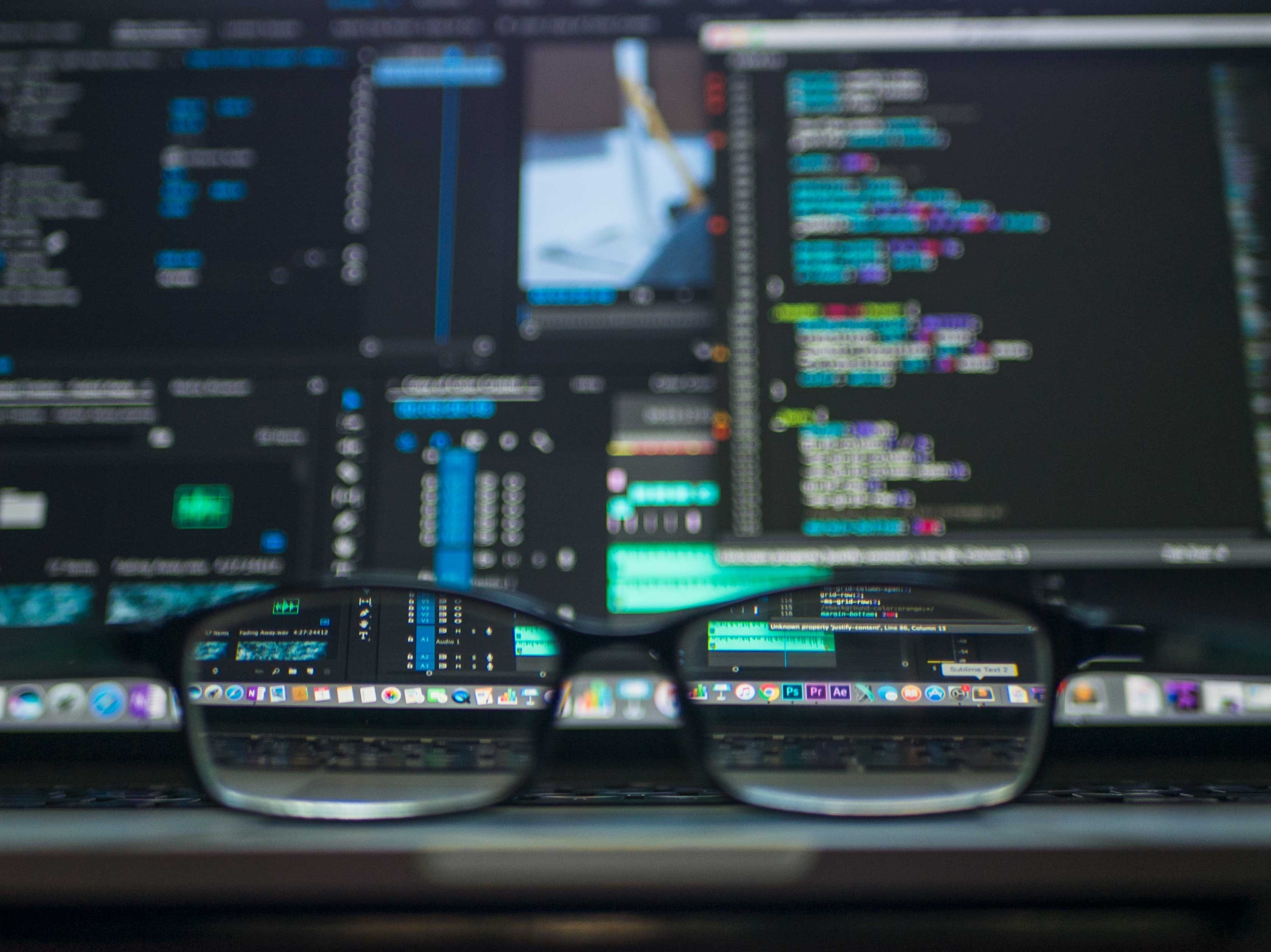 glasses in front of screen with structured data