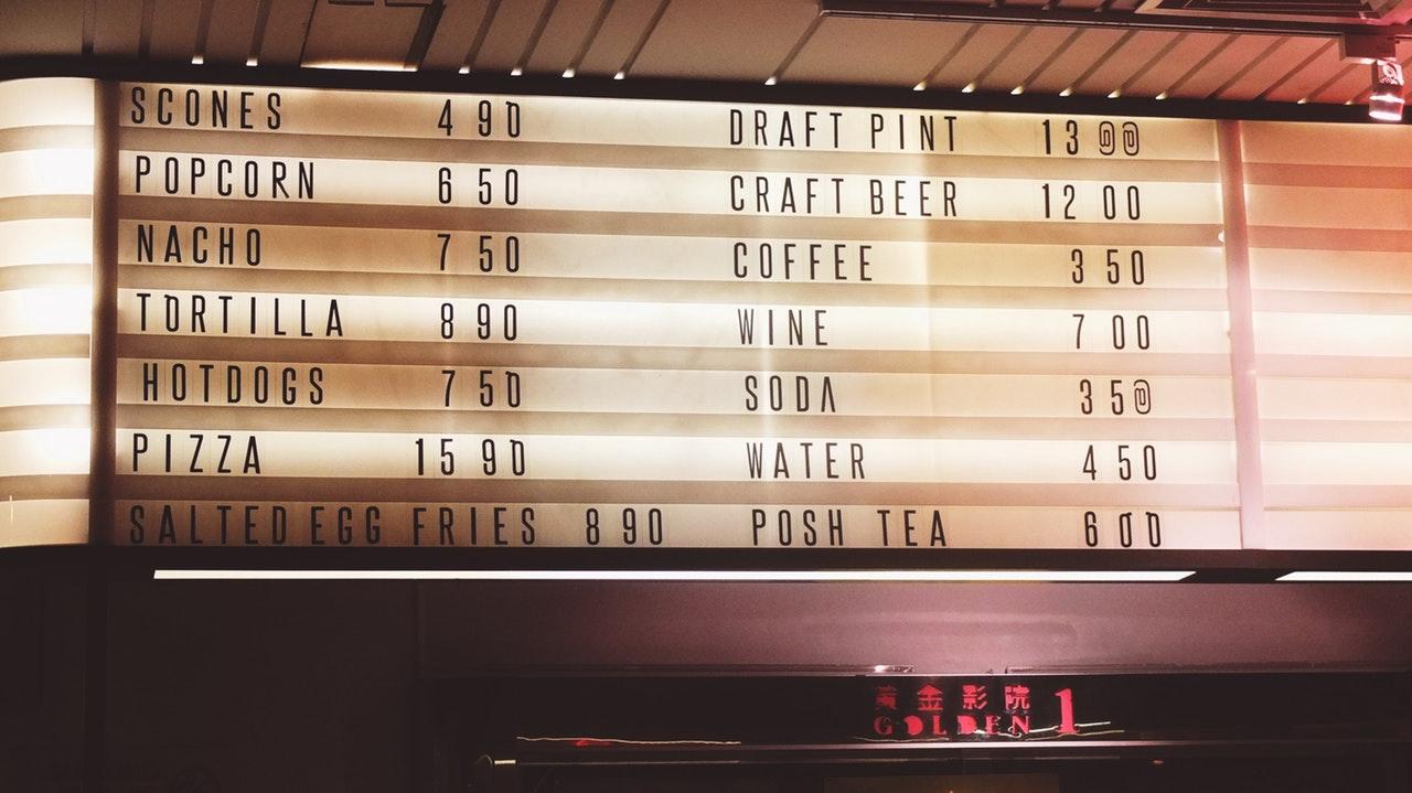menu board representing marketing pricing